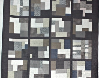 Grey Improv Quilt, Modern Quilt, Lap Quilt, Abstract Quilt, Q025 Improv