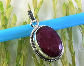 Ruby in 925 sterling silver pendant  --  6062