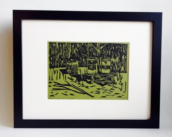 """Beehives in Winter handmade linocut print 5x7"""", unframed (moss green) - home decor, wall art, cottage decor, cabin decor, kitchen art"""