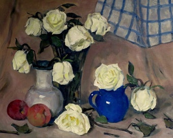 Roses, Peaches, Blue and White Dish Towel, Oil on Linen, 16x20 in., Unframed