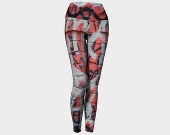 GRAFFITI Numero Quatro Yoga Leggings Street Art-Abstract-Photo-Wearable Art-Fashion-Clothes-Women-Teen-Pants-Clothing-Hand Sewn-XS-S-M-L-XL