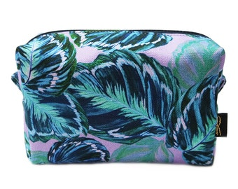 Feather Leaf Printed Lilac Fully Lined Makeup Bag