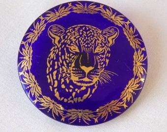 Glass Lepoard Blue / Purple Button Large Button  B306