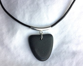 Black Beach Stone Necklace with Sterling Silver Bail and Black Leather Cord