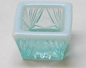 Salt Cellar Square Shape in Opalescent Blue Glass