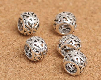 10 Sterling Silver S Bead, Sterling Rondelle Bead, 925 Sterling Silver Hollow Bead, Sterling European Bead, Round Bead 8mm x 6mm x 4mm -F203