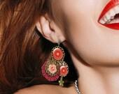 Red pendant earrings - Red orange mandala pendant earrings by Milacréa