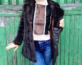 Fur-Leather vintage coat