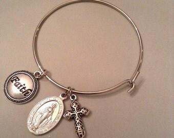Religious Rosary Charm Bracelet