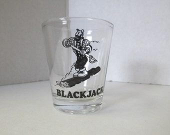 Vintage Blackjack Lumberjack Shot Glass