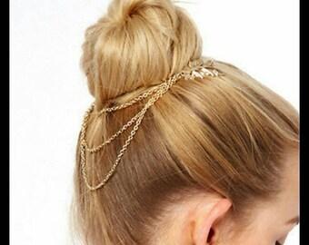 40% OFF Gold Leaf Chain Hair Pin