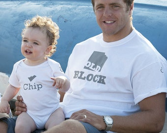 Old Block /Chip -  Father / Son T-shirt Set