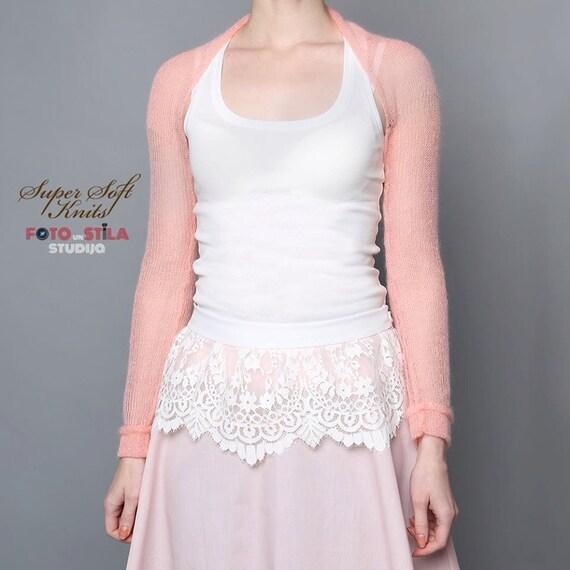 Bridesmaids Shrug Salmon Pink Bridal Bolero Cover Up Long