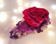 Powerful Crown Healing Atlantasite, Charoite, Ametrine, Auralite, Sugilite, and Amethyst barrette with preserved red rose!