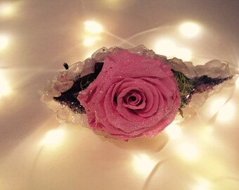 Enchanting heart healing rose quartz milkweed pod barrette with preserved pink rose