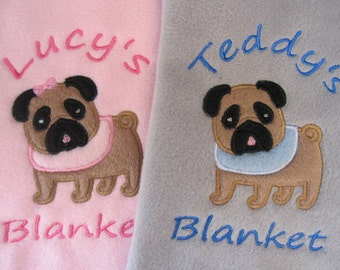Personalised Dog / Puppy Blanket - Soft & Cosy Fleece - Pug Dog
