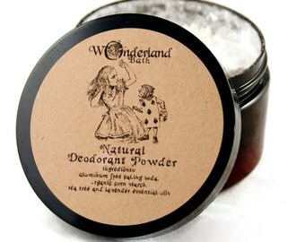 Deodorant Powder, All Natural Deodorant Powder, Aluminum Free Deodorant, Body Powder, Dusting Powder, Foot Powder, Alice in Wonderland