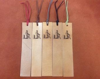 Laser Engraved Barrel Racer Leather Bookmark