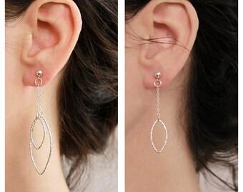 Sterling silver Eer jacket earrings , geometric earrings , 2 pair in 1 , chain earrings , trendy earrings , NICKEL FREE ,  studs earrings