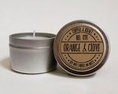 No. 414 Orange & Clove 4 oz. Soy Candle Tin, Scented Soy Candles, Hand Poured Soy Candles, Soy Candles Handmade, Fall Candle