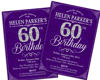 60th Birthday Invitation / 30th / 40th / 50th / Any Age / Adult Birthday / Purple / Silver / Diamonds / Damask /Printable Invitation