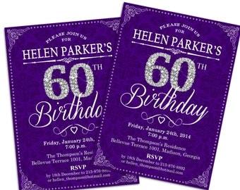 60th Birthday Invitation / 30th / 40th / 50th / Any Age / Adult Birthday / Purple / Silver / Diamonds / Damask /Printable Invitation