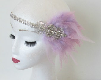 Heather Light Purple Feather Headpiece Vintage 1920s Flapper Headband Silver Headdress Dress Great Gatsby Charleston Elastic Rhinestone O39