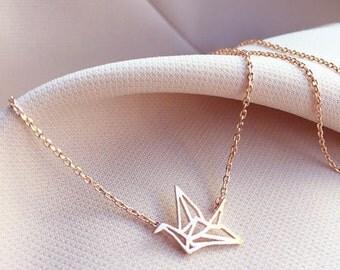 Rose Gold Origami Crane Necklace - Dainty Necklace - Gift Necklace - Minimalist Necklace - Charm Necklace - Minimal Geometric Necklace