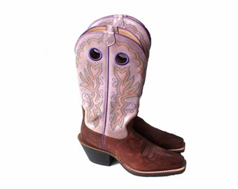 Women's Footwear Cowboy Boots Brown Light Purple Chunky Heel Cowboy Boots 37/4/6,5