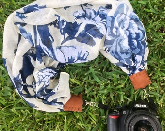 Floral scarf camera strap > blue and white || for Nikon, Canon, and DSLR photography
