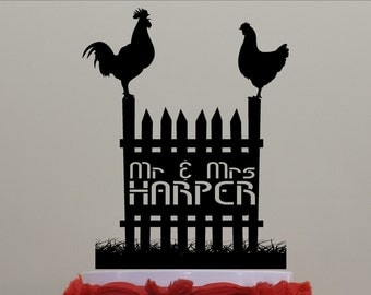 Farm Cake Topper of Rooster and Hen.  Fence, Picket Fence, Farming, Rooster, Hen, Your Name or Phrase