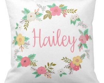 Custom Colored Floral Name Pillow