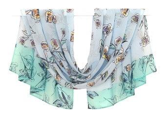 Free Shipping, light blue scarf, chiffon scarf, flowers scarf, print scarf, silk scarf, floral scarf summer, blanket scarf, fall scarves