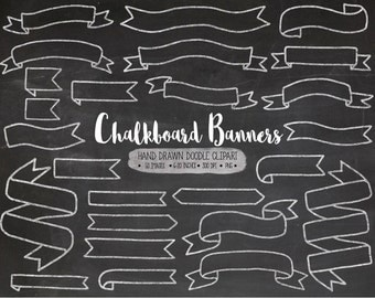 SALE. Chalkboard Banners Clip Art. Hand Drawn Ribbon Chalk Banners. White Doodle Banner Illustrations. Digital Wedding Chalk Clipart.