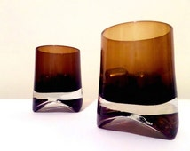 Highball Scotch Glasses  +  Mad Men Era  +  Brown Ombre  +  1960s  +  Vintage Glassware  + Scotch