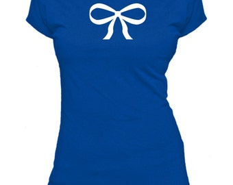 Bow. Ribbon. Ladies fitted t-shirt.