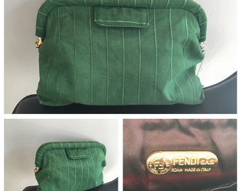 80s Fendi Clutch - Vintage Fendi Silk Bag - Fendi Green Bag