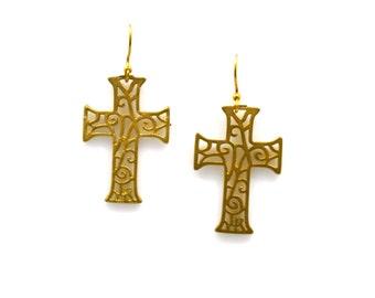 Large Goldtone Filigree Cross Earrings