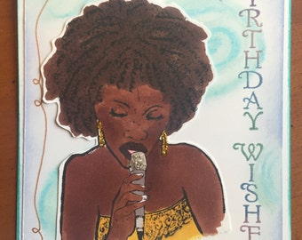 African American woman singing birthday card