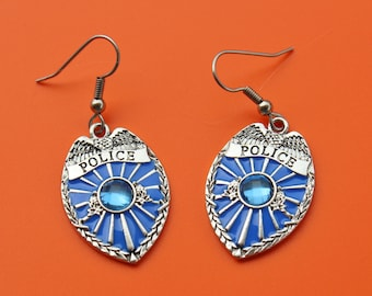 POLICE BADGE EARRINGS,police,policeman,cop,badge,police wife,police officer,law enforcement,law,1550