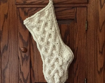 Chunky Knit Christmas Stocking - Celtic Knot