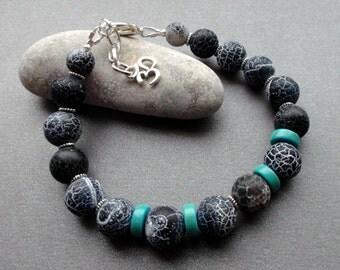 Men's Bracelet Black Agate turquoise. Handmade Bracelet for Men. Frosted Black Rough Agate. Jewelry for Men. Guys. Boyfriend Gift. for him.