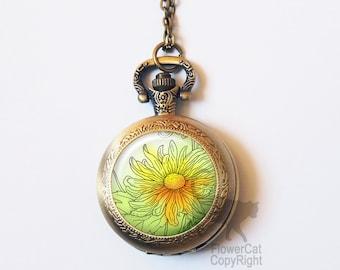 Vintage Flower Pocket Watch Necklace, Daisy Flower, Floral, Summer, Vintage Gold or Silver Pocket Watch