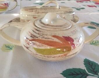 "California Vernonware ""Tradewinds"" Set of 6 Teacups, Sugar bowl and Butter dish"