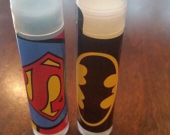 Super Hero Personalized Lip Balms Batman Superman
