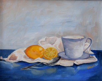 "Still Life of Lemons and Tea Cup, Original Oil Painting, 11""x14"""