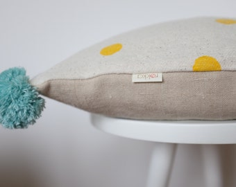 Handprinted Pompom Pillow From Hemp, FREE SHIPPING, Yellow dots, blue pompom
