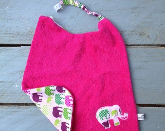 "Bib birth 0-3 years gift fancy with adjustable elastic neck to scratch collection ""the elephants of cornice"""