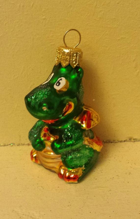 Blown glass mini dragon christmas tree ornament decoration or
