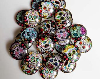10 Skull Sugar Candy Mixed Round Glass Cabochons 20mm (040)